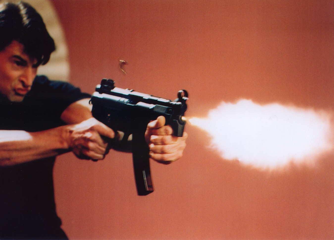 The flame from the 9mm Film Industry Blank in the MP5K can be clearly seen in this picture